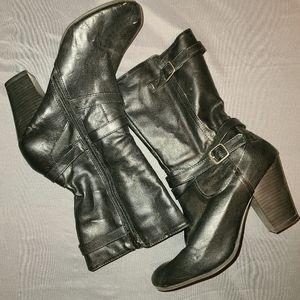 Faded gloryblack strap heel boots sz 8